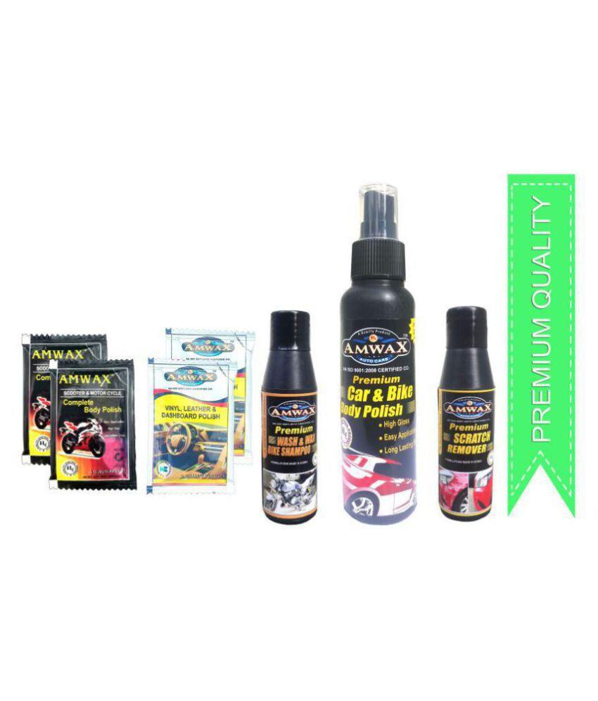 Car  amp; Bike Body Polish 120ml+Scratch Remover 50ml+Wash  amp; Wax 50ml+Dashboard  amp; Body Polish Pouch 10ml x 2 Pcs. + 2 Pcs.