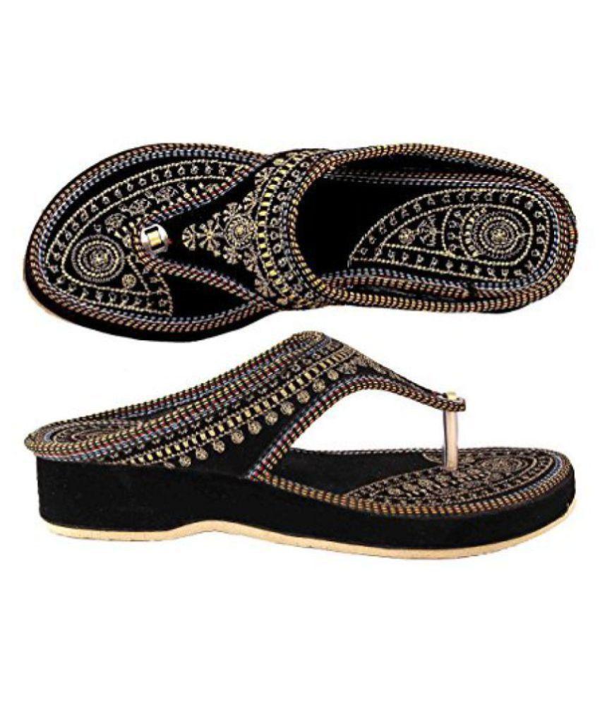 Apratim Black Slippers