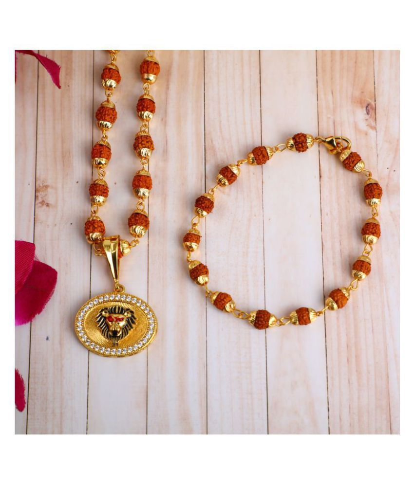 DIPALI Imitation Rudraksh Mala With BRACLET Gold Plated LION Inspired Pendant Set For Men BoyS