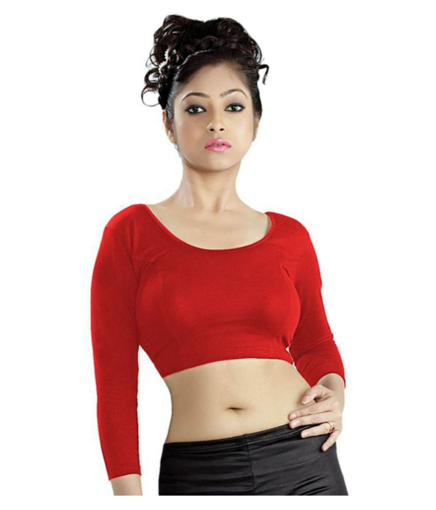 ABHI Red Polycotton Readymade without Pad Blouse
