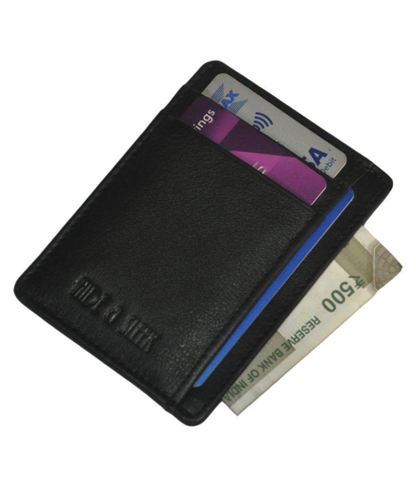 Black Genuine Leather Men Business Card Holder