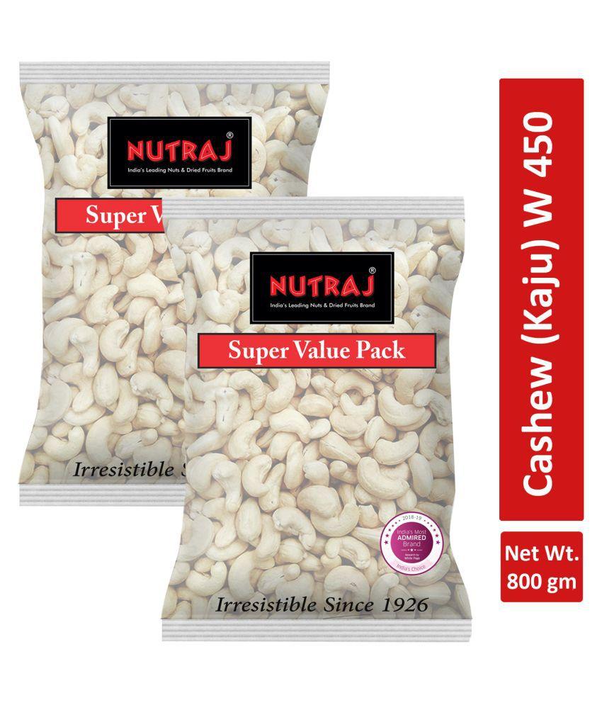 Nutraj Regular Cashew Nuts (Kaju) W450 - 800gm (400g X 2)