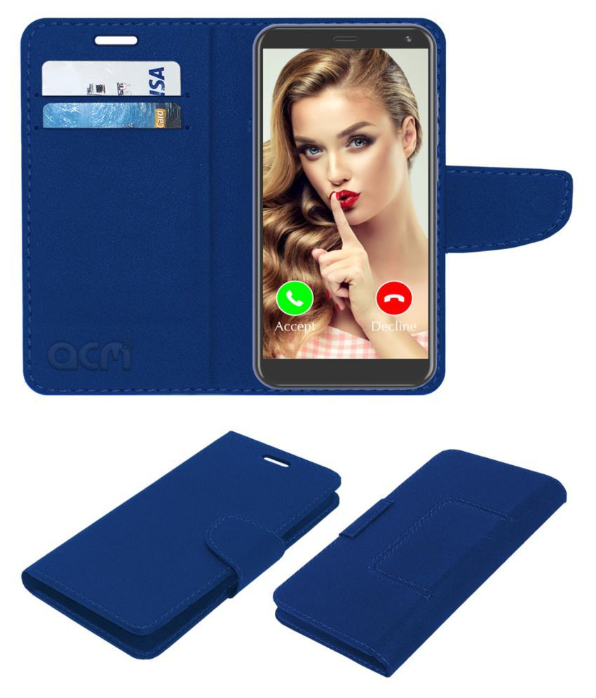Yuho Y3 Pro Flip Cover by ACM - Blue Wallet Case