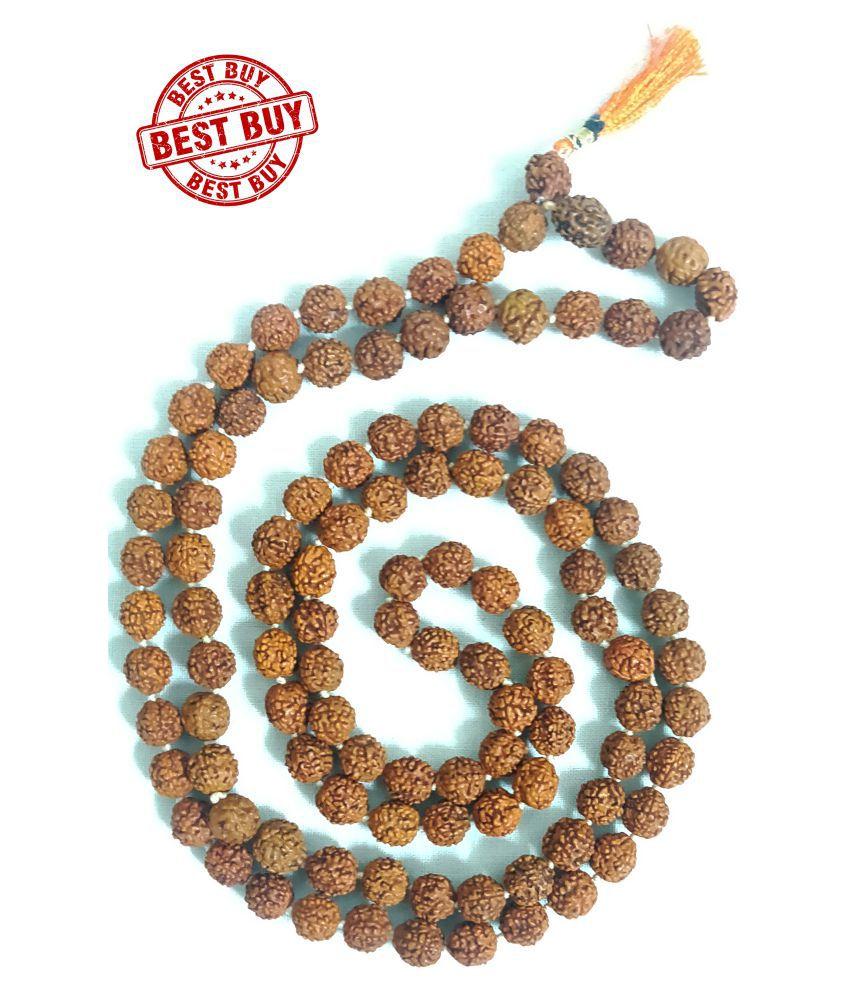 BEST Buy Sidh Shri Divya Alokik 5 Mukhi (5 Face) Rudraksha Japa/Wear Mala (108+1)Beads, 7.2 MM   100% Real & Genuine
