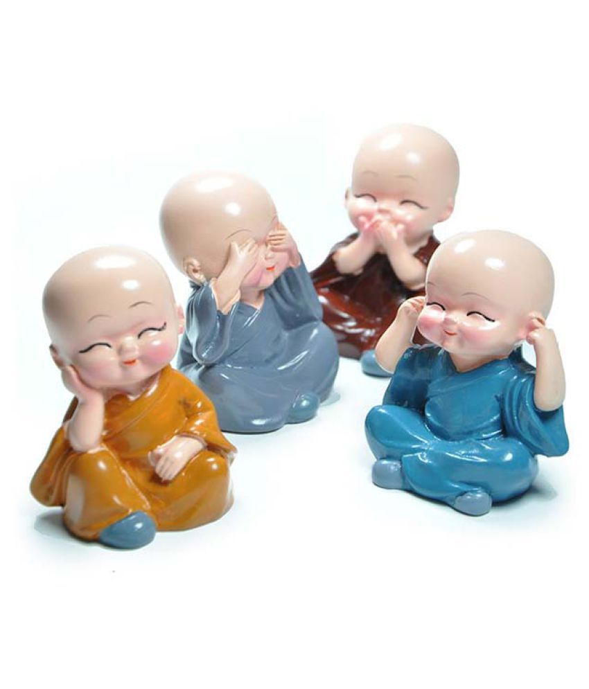 KDM Multicolour Polyresin Monk Buddha Figurines - Pack of 4