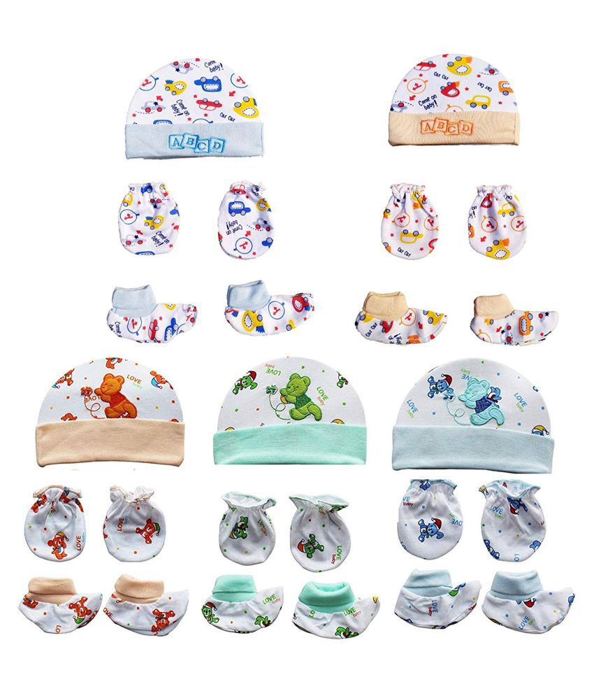 Gouravsumana Baby Boys and Baby Girl's Soft Cotton Cap ( Multicolour ; Pack Of 5 ) 3-6 Months