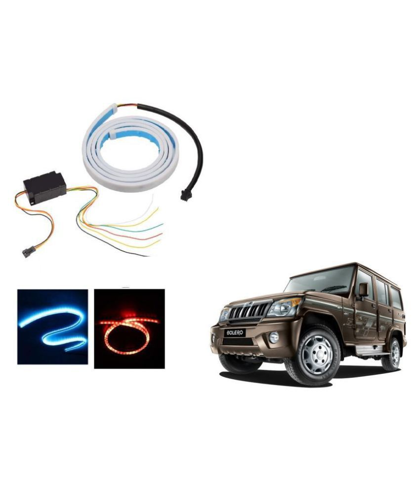 Auto Addict LED Dicky Light Ice Blue & Red DRL Brake with Side Turn Signal & Parking Indication Dicky, Trunk, Boot Strip Light For Mahindra Bolero
