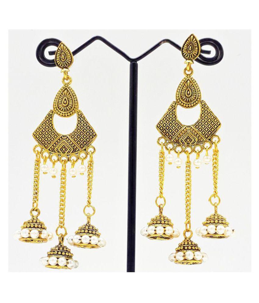 Women's Girl's Oxidized Gold Plated Pearl & Mirror Work Designer Earring German Silver Drops & Danglers, Earring Set, Jhumki Earring