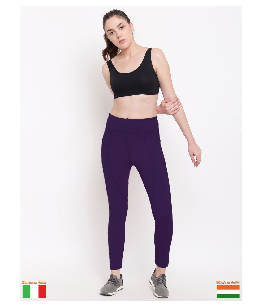 X-Cult Purple Polyester Lycra Solid Tights
