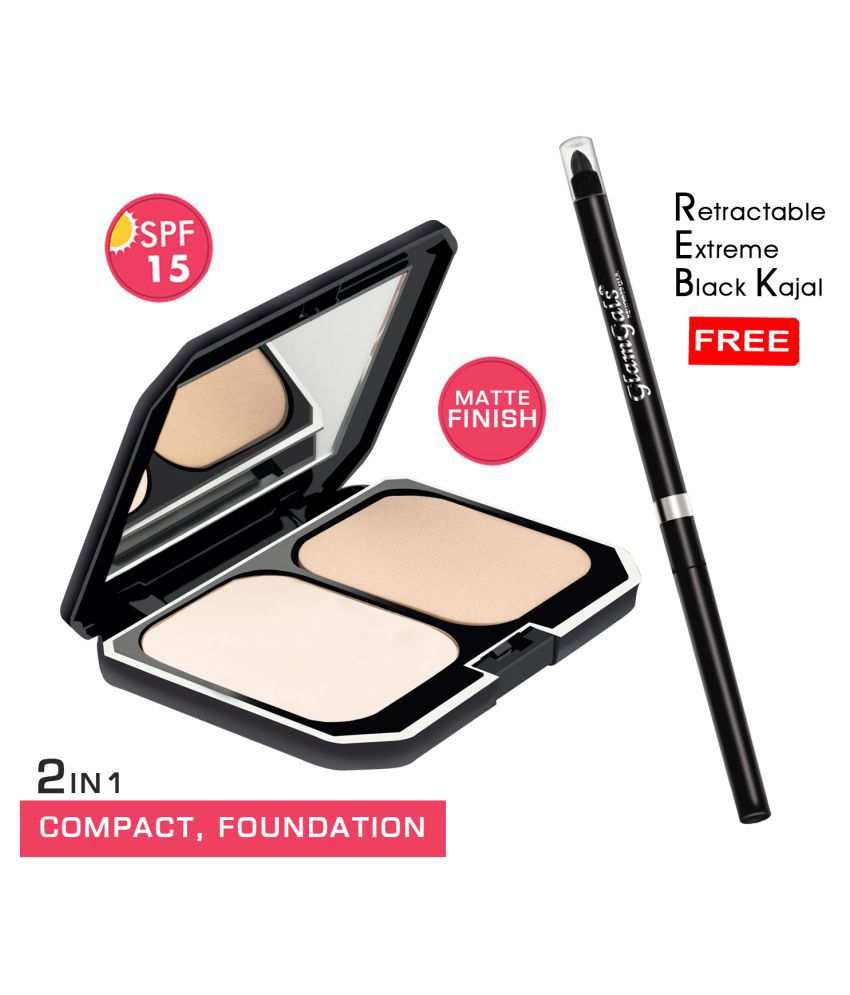 GlamGals Compact + Retractable kajal Free Pressed Powder Light SPF 15 Pack of 2 10 g
