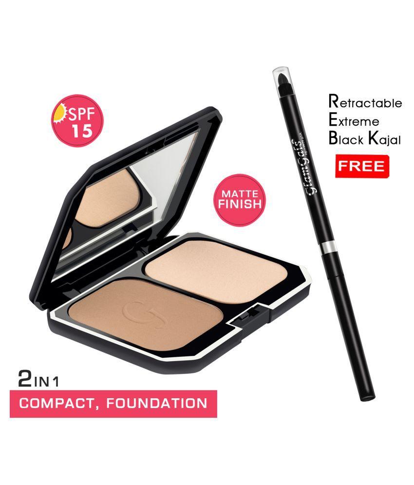 GlamGals Compact (Brown) +  kajal Free Pressed Powder Medium SPF 15 Pack of 2 10 g