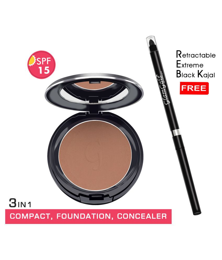 GlamGals Compact (Coffee) +  kajal Free Pressed Powder Medium SPF 15 Pack of 2 14 g