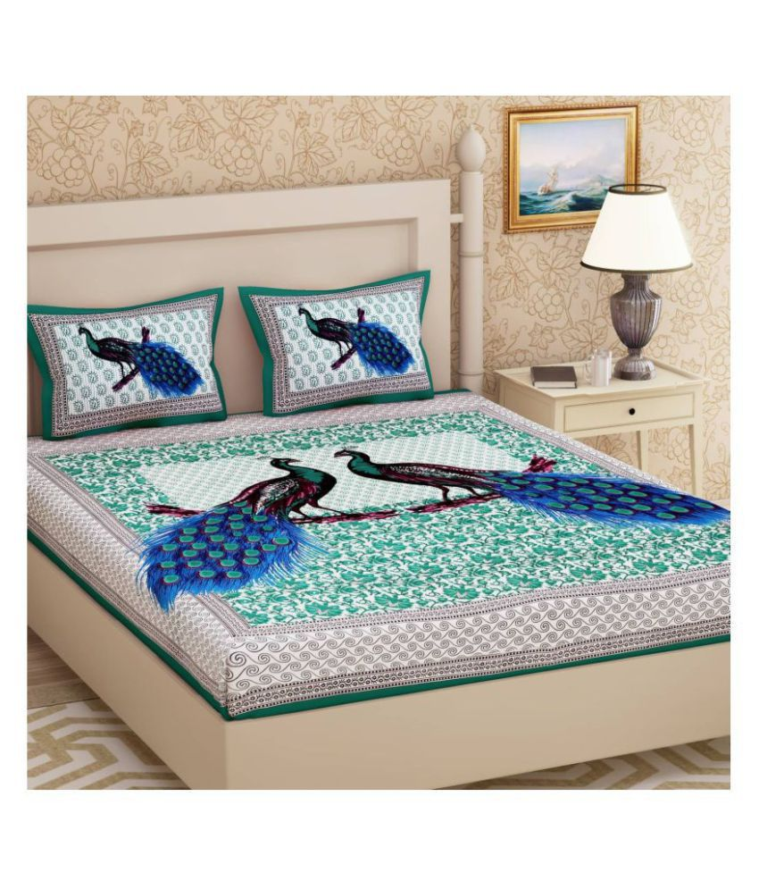 Kismat Collection Cotton Double Bedsheet with 2 Pillow Covers