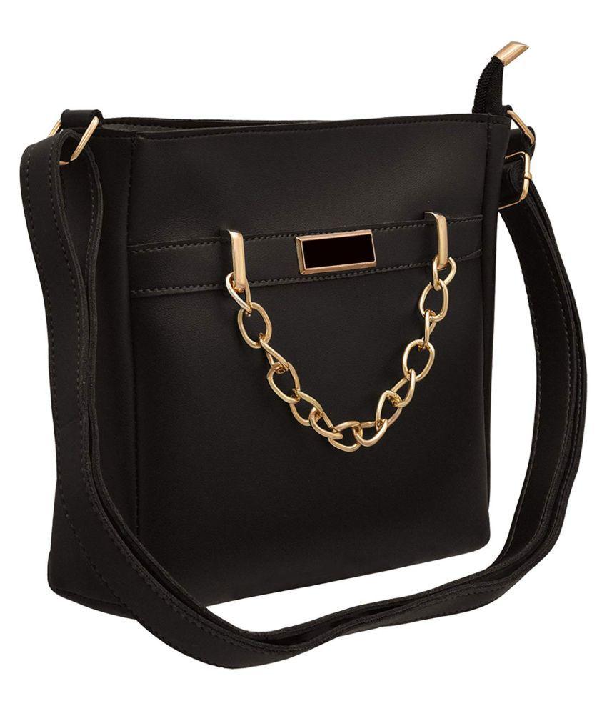 TAP FASHION Black P.U. Sling Bag
