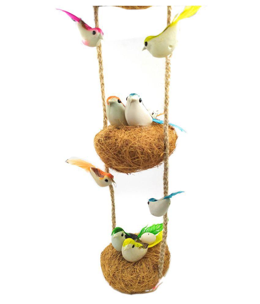 Shinde patil exports Jute birds nest hanging Decorative Cage Multi - Pack of 1