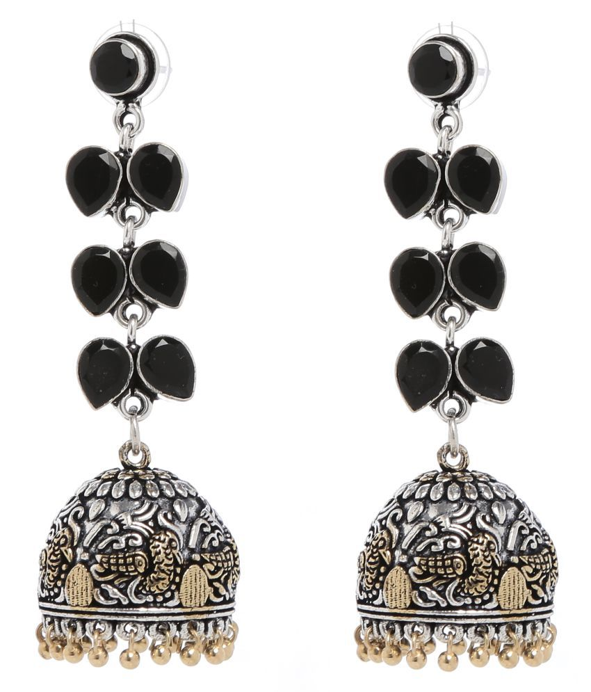 Women Artificial Fashion Jewellery Earring Made Of Alloy And Artificial Stones Black Color