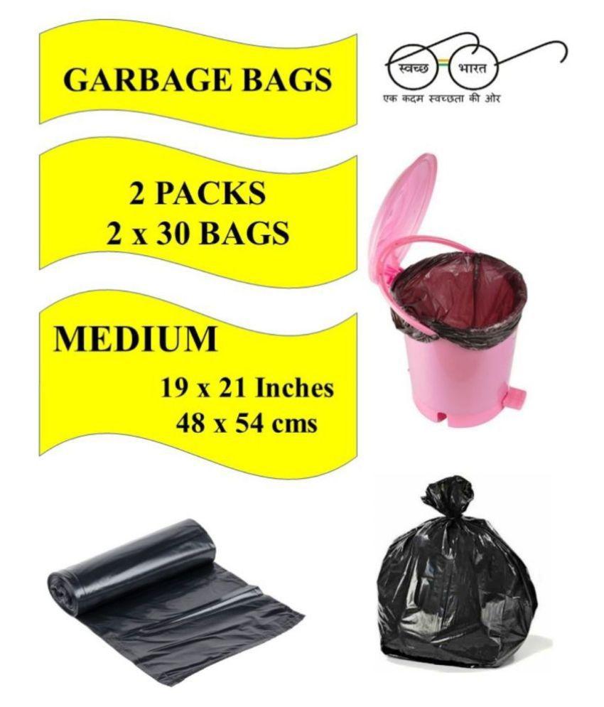 Navrachana Garbage Bags| Medium:19X21 |2 Packs of 30 Pcs-60 Pcs | Recyclable Garbage Dustbin Bags - Black