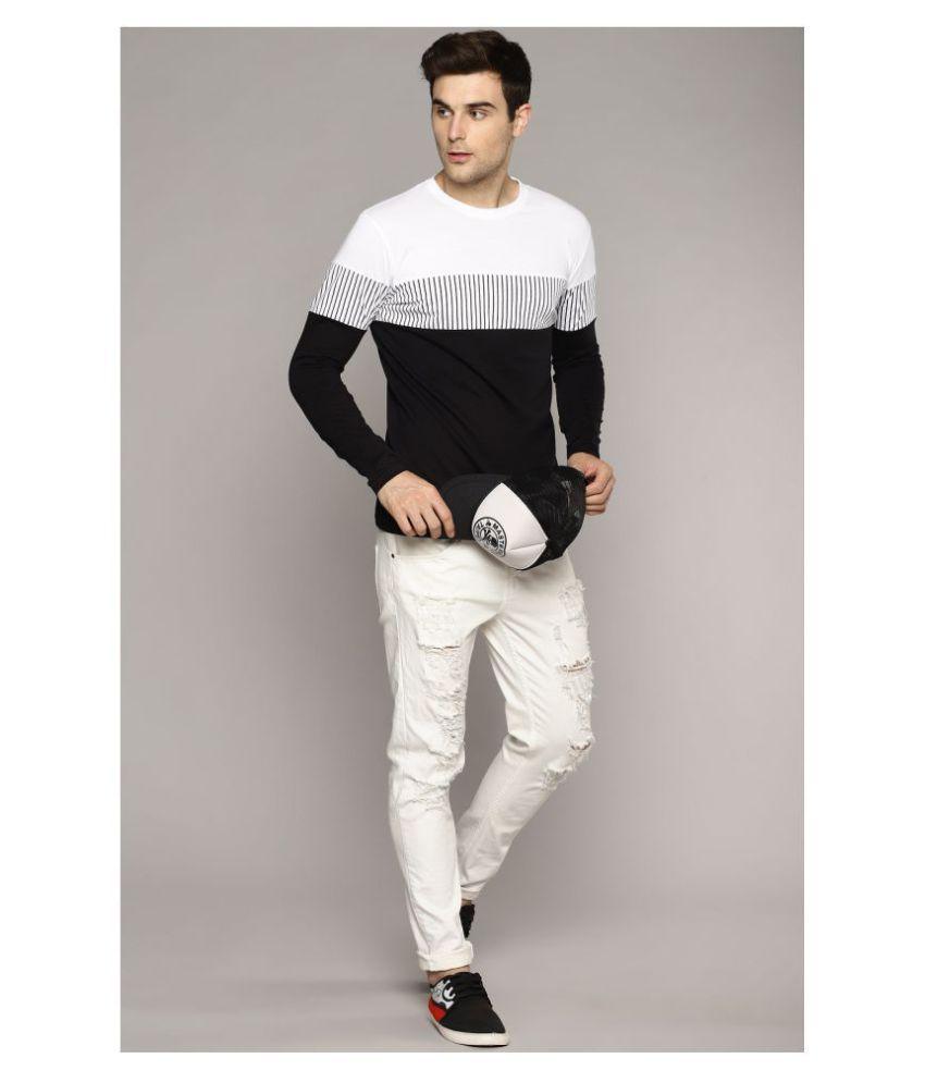 Sam & Laura 100 Percent Cotton White Color Block T-Shirt