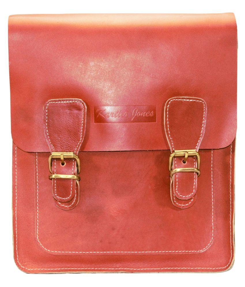 Kartier jones Messenger Bag Orange Leather Office Messenger Bag