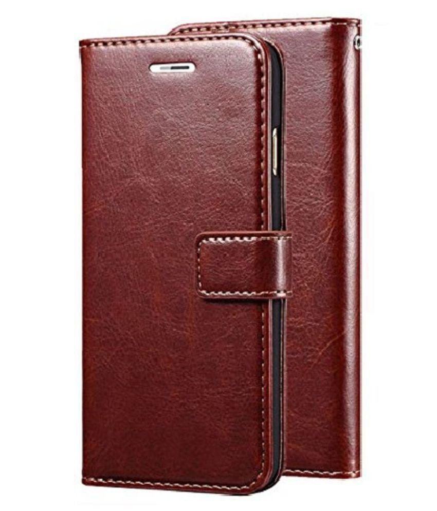 Samsung galaxy J7 Max Flip Cover by Megha Star - Brown Original Leather Wallet