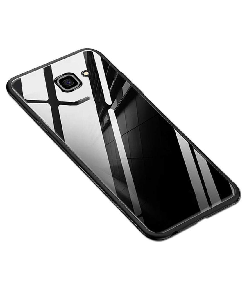 Samsung Galaxy J7 Prime Mirror Back Covers Designer Hub   Black