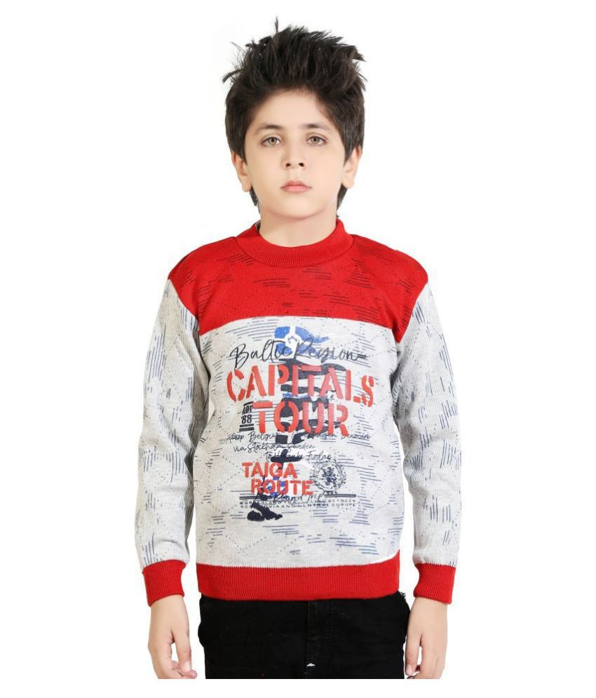 AD & AV  Printed Round Neck Casual Boys Multicolor Sweater
