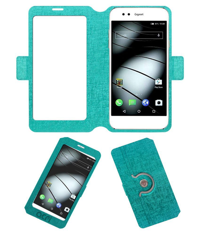 Gigaset Me-Gs55 Flip Cover by ACM - Blue Dual Side Stand