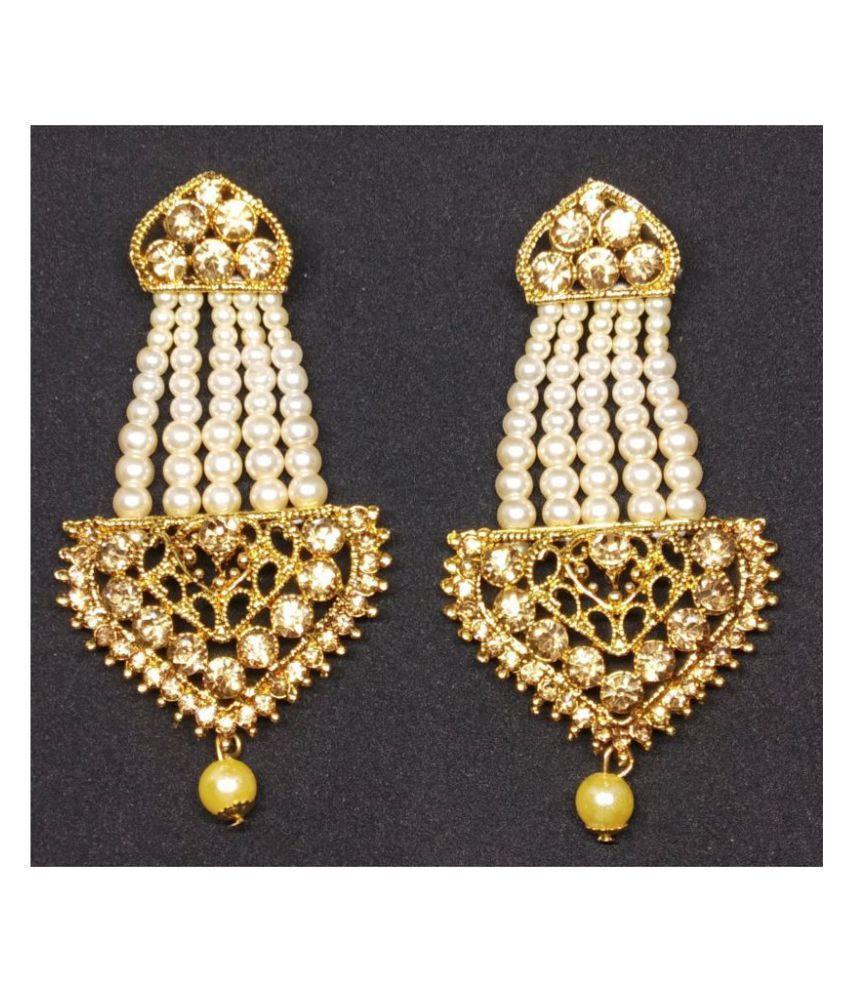 ZIKU JEWELRY KUNDAN EARRINGS TRIANGLE SHAPE GOLD PLATED WHITE BEADS DANGLE AND DROP FOR WOMEN AND GIRLS.