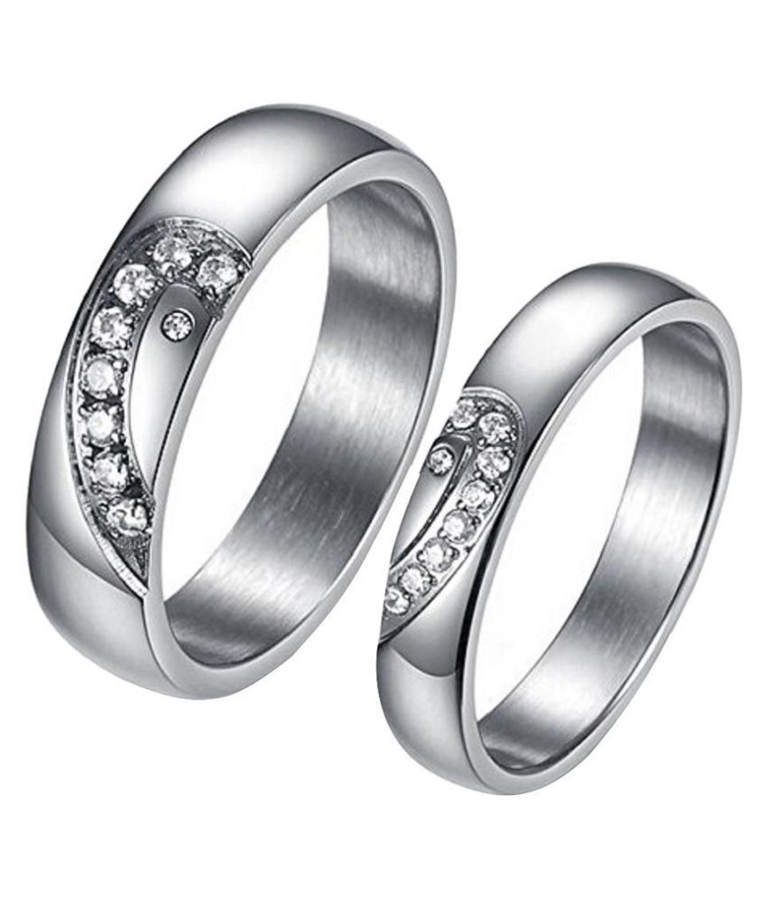 Girlz! Platinum Plated Puzzle Heart Rhinestone Couple Rings (2 Pieces - His And Her)
