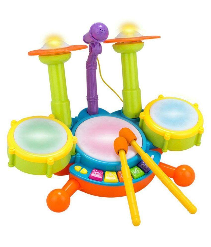 yatri creation  Dynamic Fun Beats Jazz Musical Drum Set With MIC Toys Children