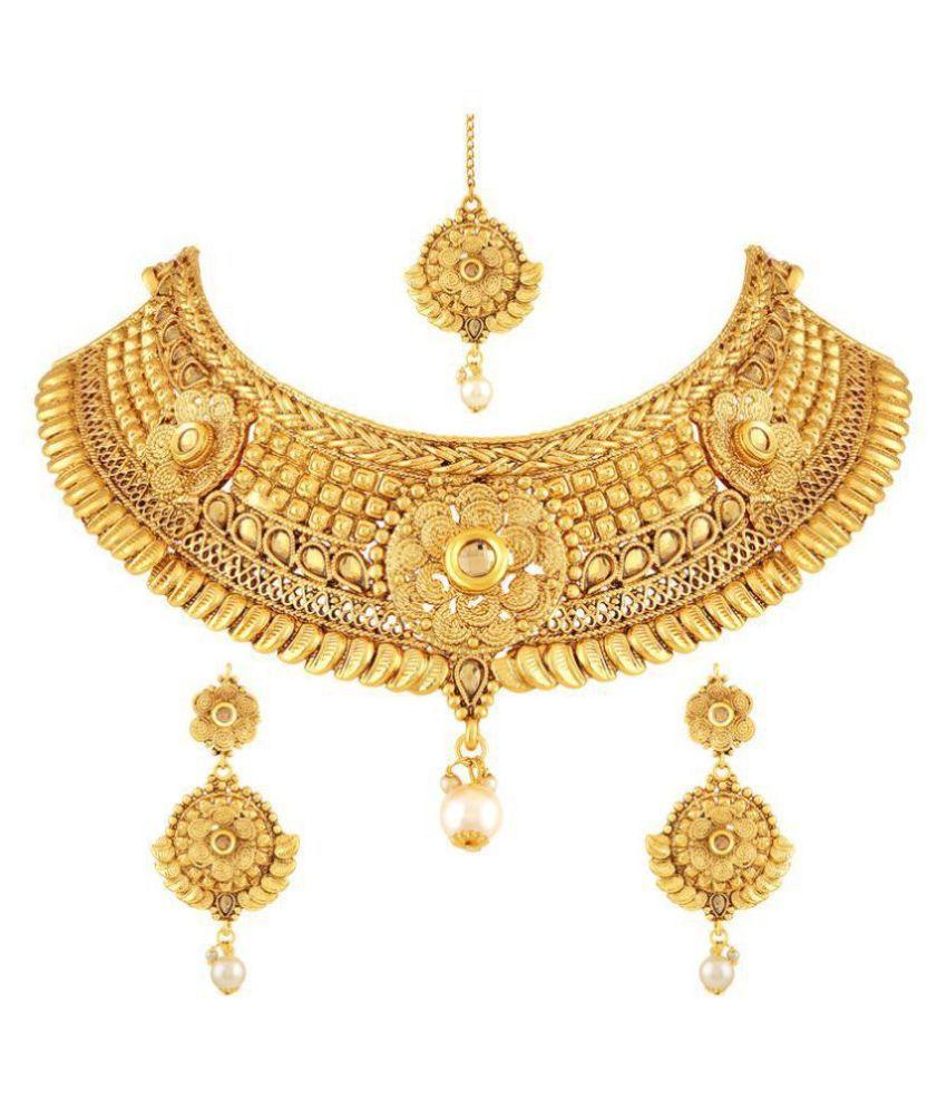 Asmitta Jewellery Zinc Golden Choker Traditional 18kt Gold Plated Necklaces Set