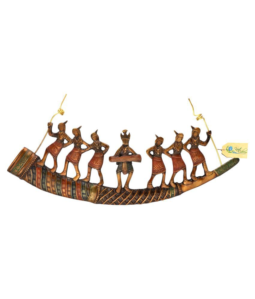 Kratidecor Brass Tribal Folk Dancers on Shehnai Wall Sculpture Multi - Pack of 1