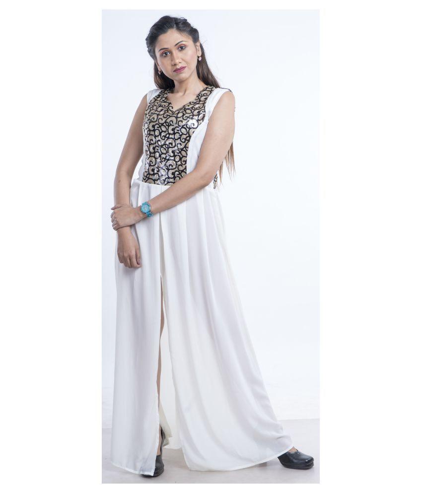 V2uniforms Georgette Multi Color Cut Out Dress