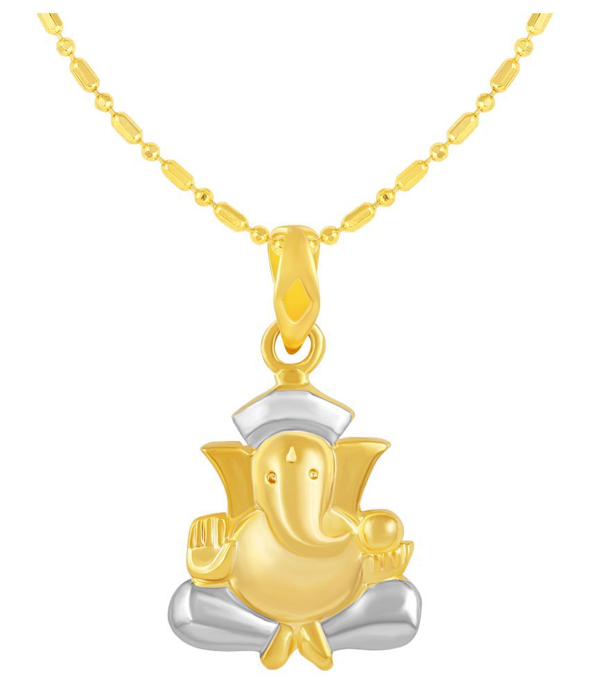 VIRINA Avighna Ganesh Gold Plated Alloy & Brass Cubic Zirconia god Pendant with Chain for Women & Men [VGP1124G]