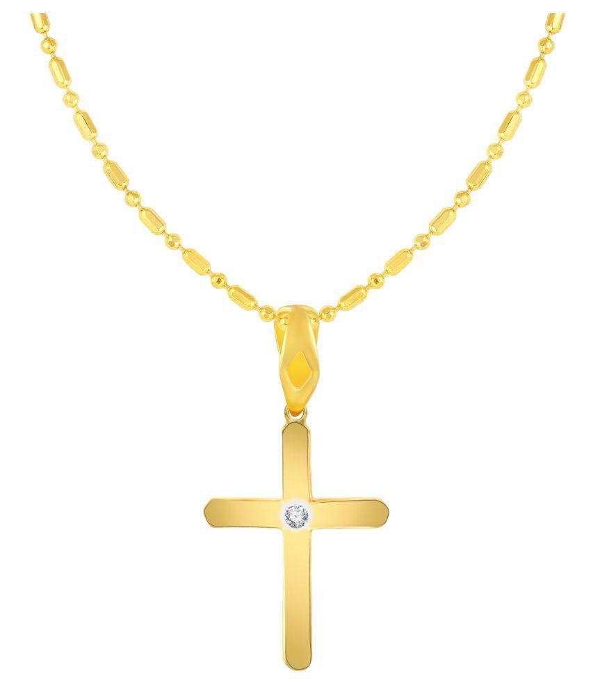 VIRINA Christain Cross Gold Plated Alloy & Brass Cubic Zirconia God Pendant for Women & Men [VGP1062G]