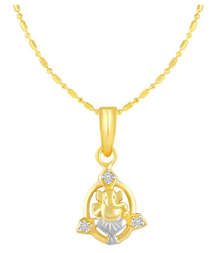 VIRINA Ganesh Gold Plated Alloy & Brass Cubic Zirconia God Pendant with Chain for Women & Men [VGP1044G]
