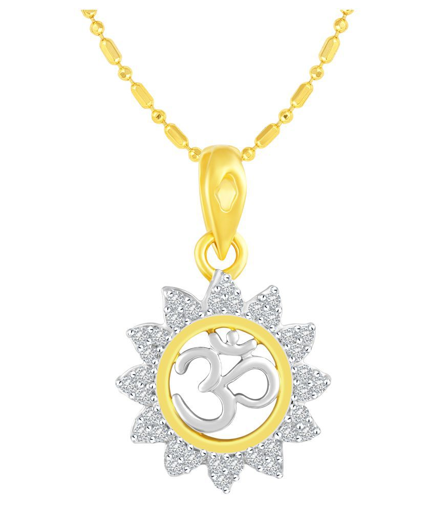 VIRINA OM Gold Plated Alloy Cubic Zirconia Studded God Pendant with Chain for Women & Men [VGP1017G]