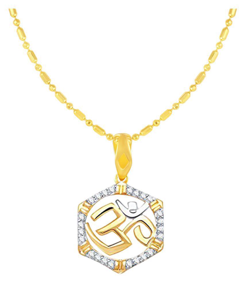 VIRINA OM Gold Plated Alloy & Brass Cubic Zirconia God Pendant with Chain for Women & Men [VGP1090G]