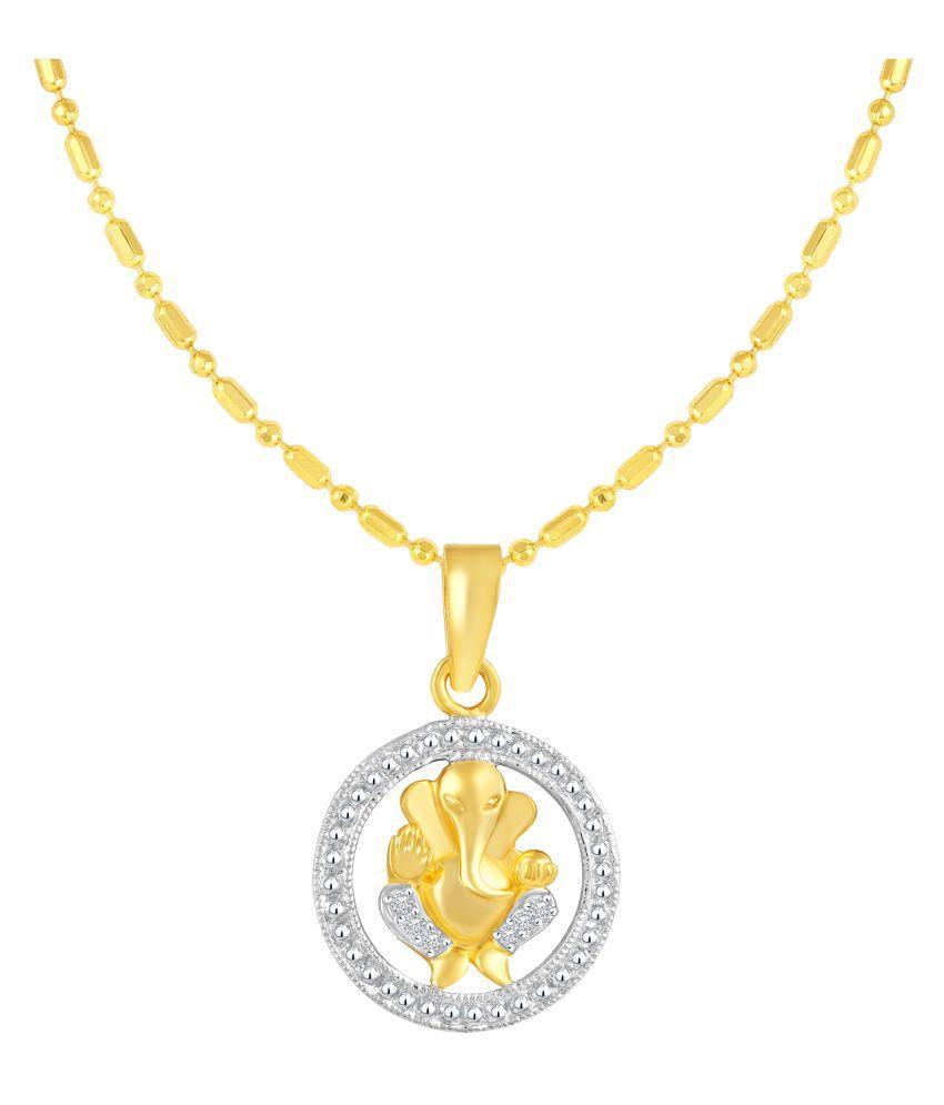 VIRINA Vakratunda Gold Plated Alloy & Brass Cubic Zirconia God Pendant with Chain for Women & Men [VGP1047G]