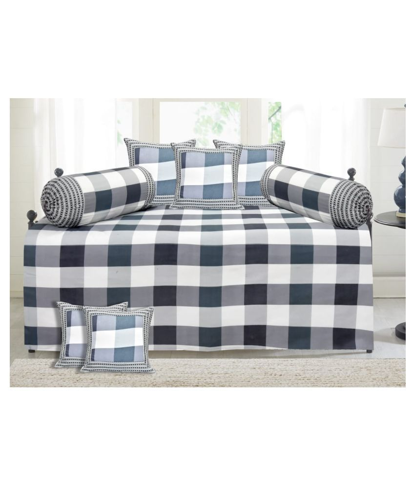 Decorum Cotton Multi Checks Diwan Set 8 Pcs