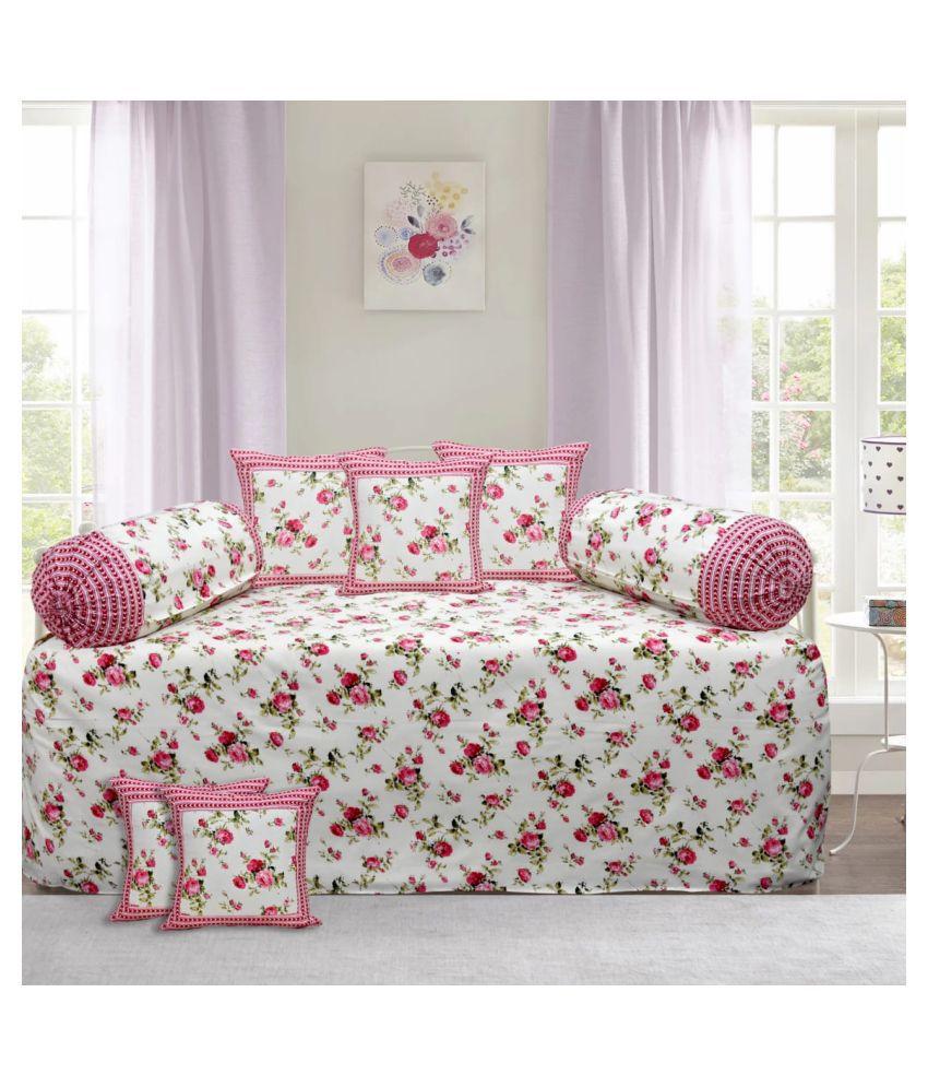 Decorum Cotton Pink Floral Diwan Set 8 Pcs
