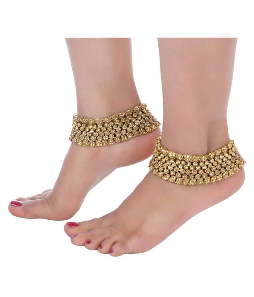 Lucky Jewellery Designer Golden Color Traditional Antique Gold Polish Anklet Payal Pair Of One For Girls & Women (1951-I2YP-389-LCT)