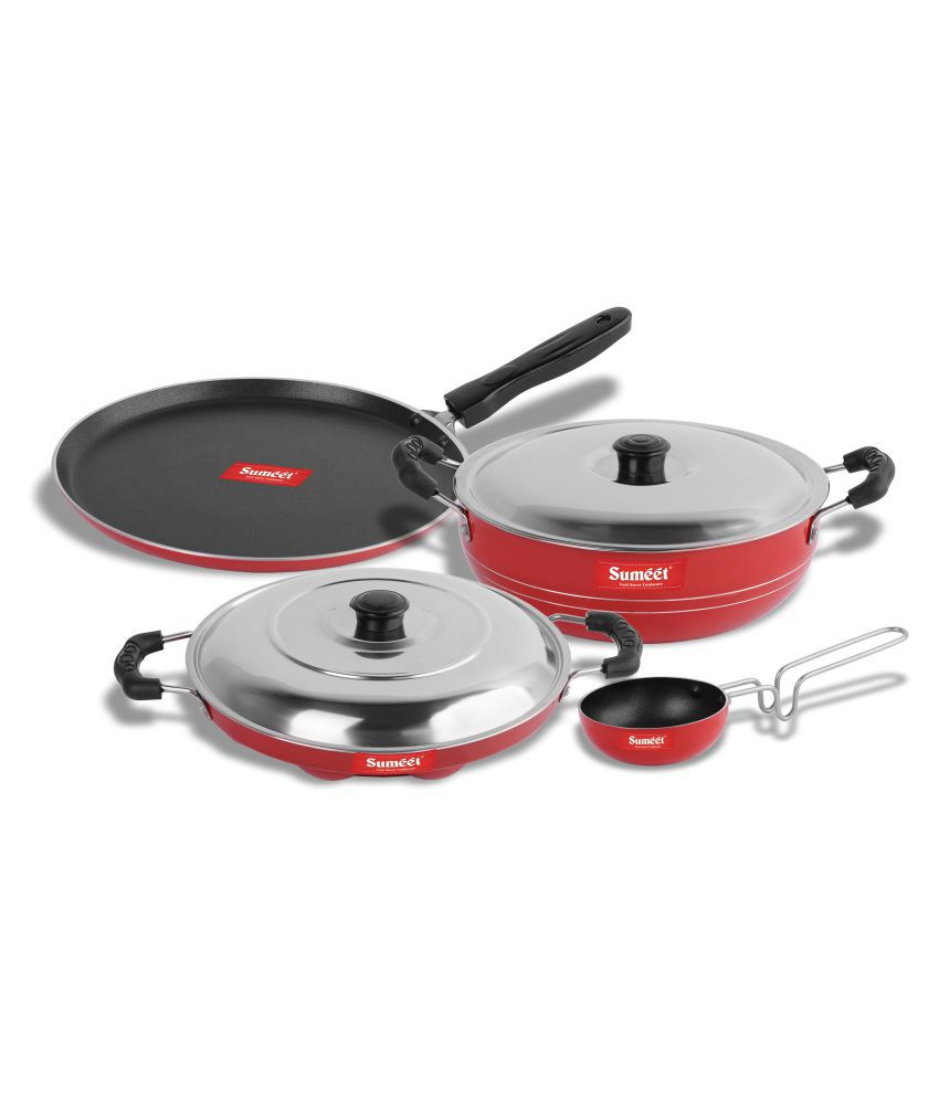 Sumeet Rood Nonstick 6 Piece Cookware Set