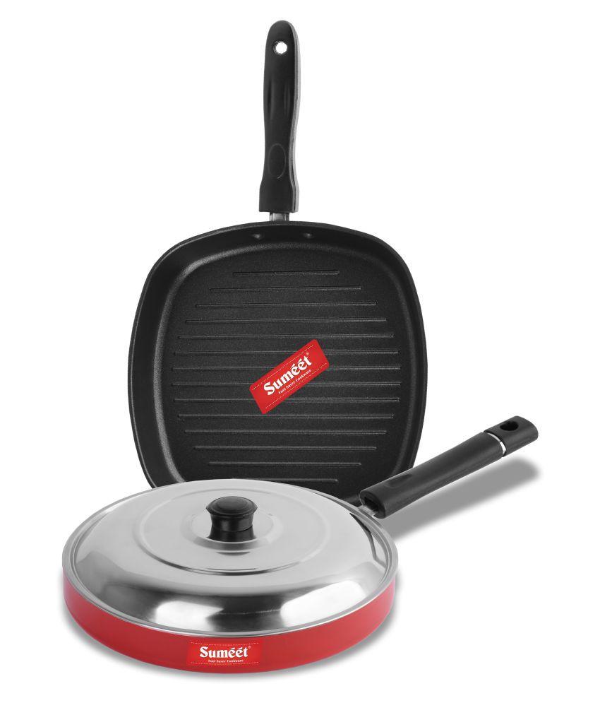 Sumeet Vivid Red Nonstick 3 Piece Cookware Set