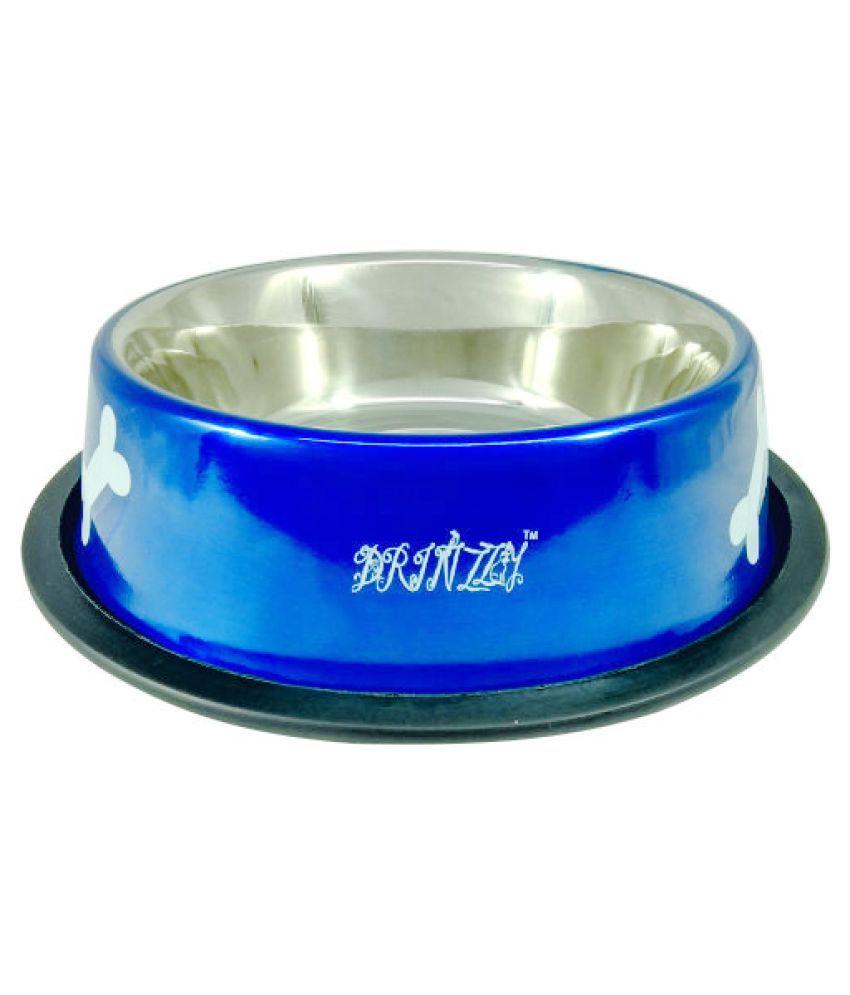 Drinzzy Stainless Steel  Anti Skid Blue Dog Bowl  (700ml)