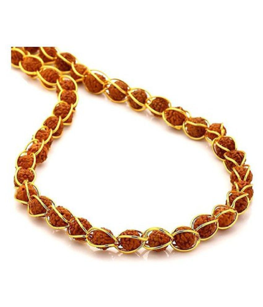 Original Rudraksha Mala With Gold Plated Wire In 7 MM Beads