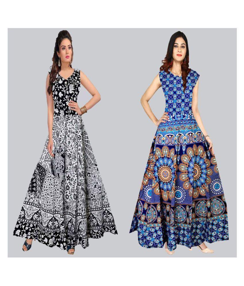 Rangun Cotton Multi Color A- line Dress