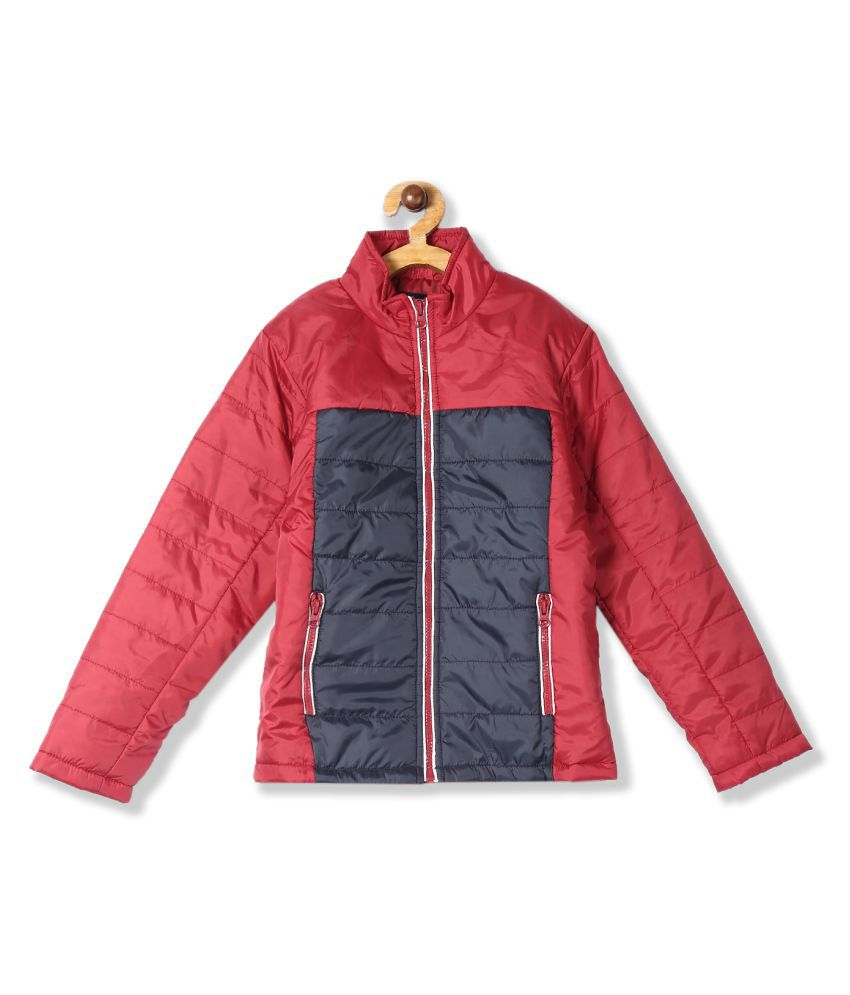 Red Boys Quilted Colour Block Jacket