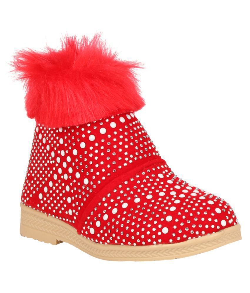 Dazzling Red Fur boot