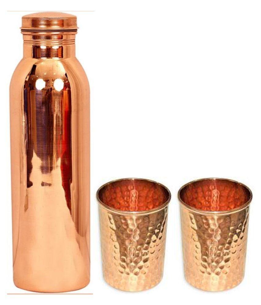 UNICOP Copper Bottle Glass 3 Pcs Lemon set